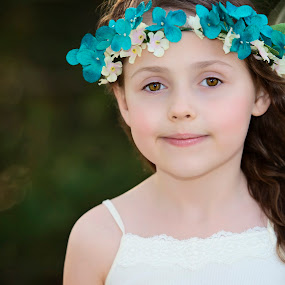 wind by Carole Brown - Babies & Children Child Portraits ( brown eyes, floral headband, windy, brown hair, white top )