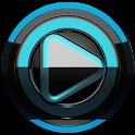 Poweramp skin Black Light blue icon
