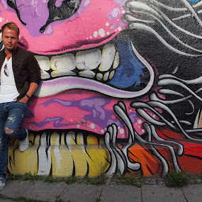 Angry teeth by Christine Schmidt - People Portraits of Men ( colourful, graffiti, man, portrait )