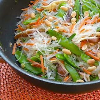Gingery Asian Noodles with Snow Peas and Shiitake Mushrooms.