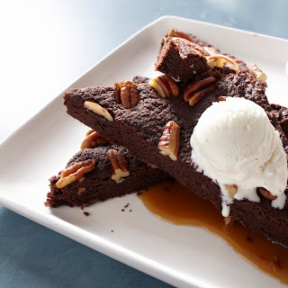 Divine Pecan Brownies with Caramel Sauce