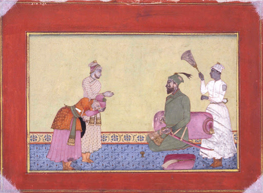 Salabuddin Bakshi Receiving Two Courtiers