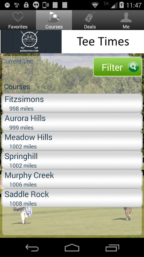 City of Aurora Golf Tee Times- screenshot
