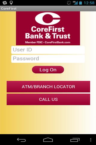 CoreFirst Bank & Trust Mobile - screenshot