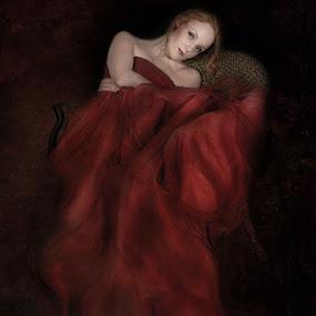 Woman In Red by Joan Blease - Digital Art People ( tranquil, dreamy, red, woman, red dress, portrait )