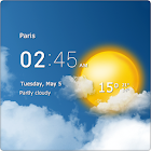 Transparent clock & weather icon