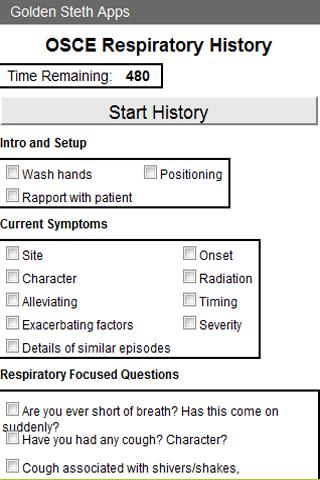 OSCE Respiratory History Check- screenshot