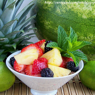 Fruit Salad with Lime Ginger Mint Syrup.
