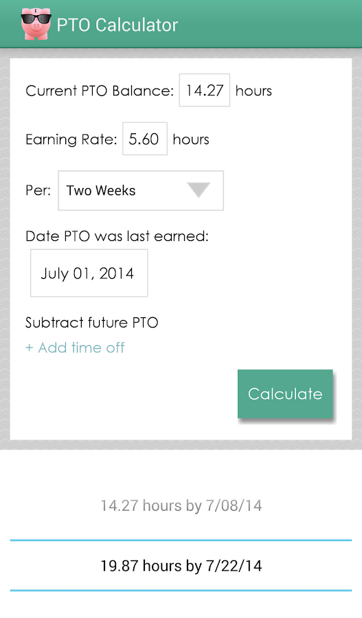 PTO Calculator- screenshot