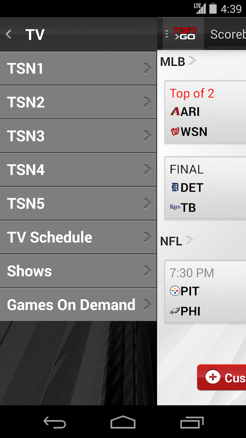 TSN GO - screenshot