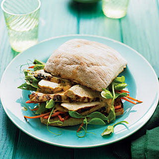 Grilled Chicken and Pea Shoot Charmoula Sandwiches.