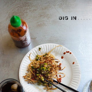 Crispy Noodles with Sweet Ginger Scallion Sauce.