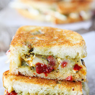 Brie, Pesto, and Sweet Pepper Grilled Cheese