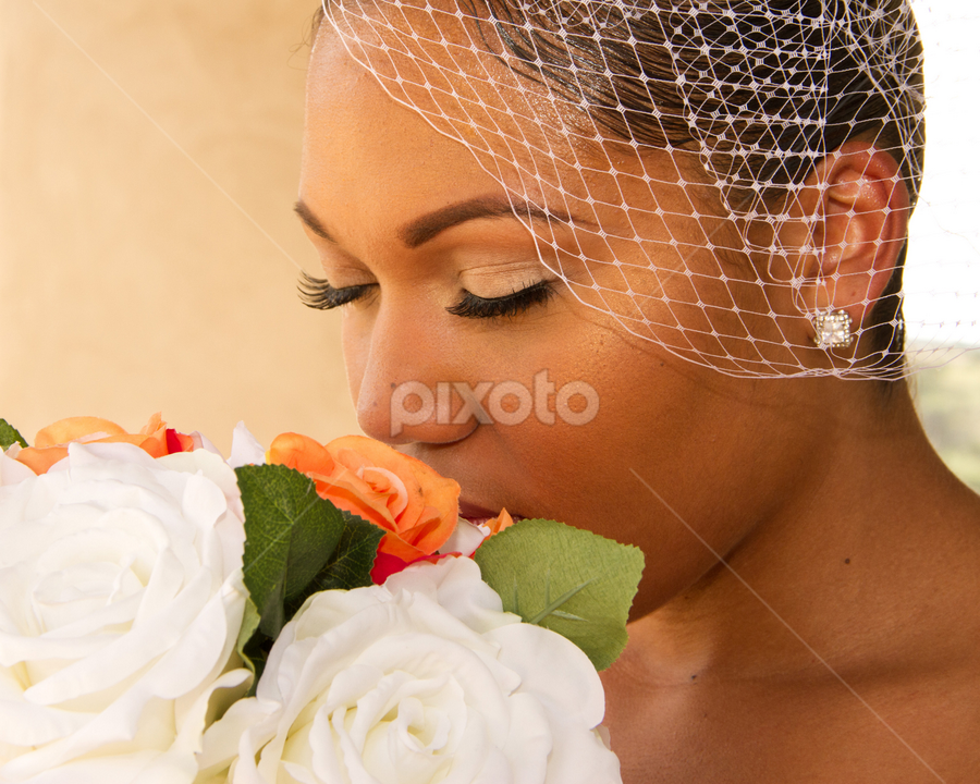 Stop to smell the roses by Matthew Chambers - Wedding Bride ( love, african american wedding, wedding, roses, bride )