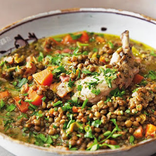 Poached Chicken with Lardons and Lentils