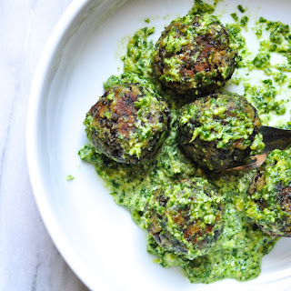 "Lentil ""meatballs"" With Lemon Pesto"