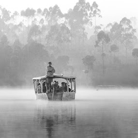 by Andi Kurniadi - Black & White Landscapes ( black and white, boat, landscape, people, misty )