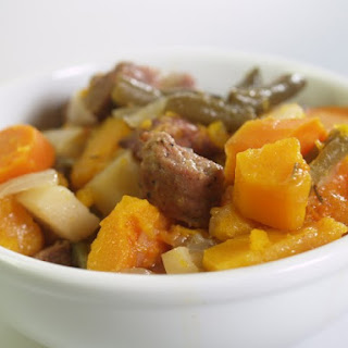 Slow Cooker Sausage And Butternut Squash Stew.