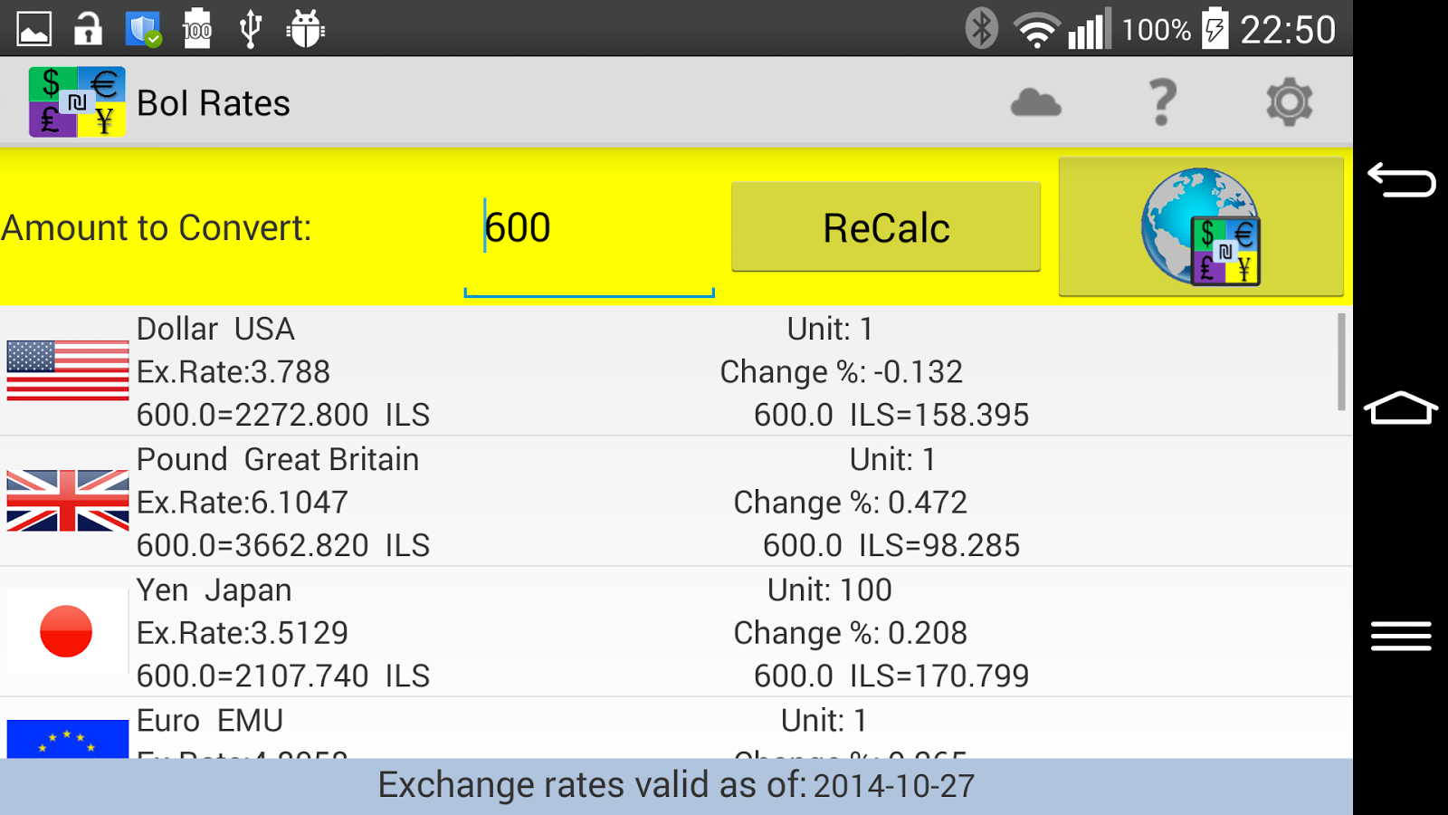 Bank of Israel Exchange Rates- screenshot