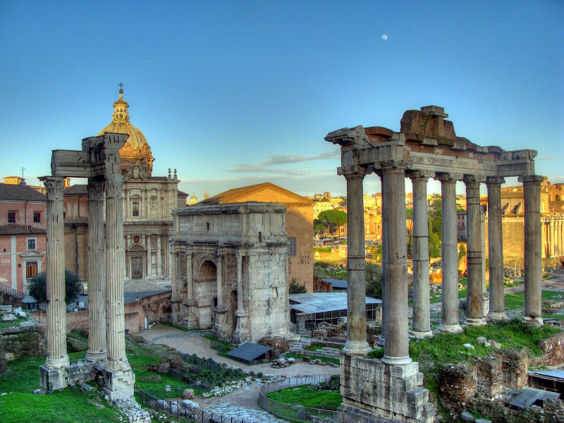 The white marble Arch of Septimius Severus at the northwest corner of the Roman Forum in Rome was dedicated in AD 203 following a military victory.