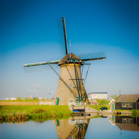 Dutch Windmill by Mike Moss - Landscapes Waterscapes ( waterscape, holland, buildings, travel, windmills,  )