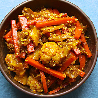 Cauliflower, Cabbage, and Carrot Achar (Malaysian-Style Pickle).