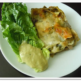 Caramelized Onion, Mushroom, and Poblano Pepper Lasagna.