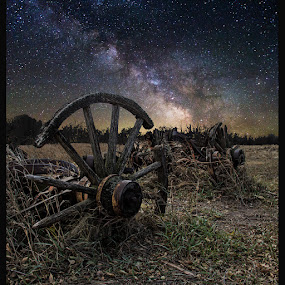 Wagon Decay  by Aaron Groen - Landscapes Starscapes ( forgotten series, stars, wagon wheel, wagon, milky way stars, south dakota, astrophotography, milky way and decay, wagon decay resized and border added to work on pixoto, decay, milky way )