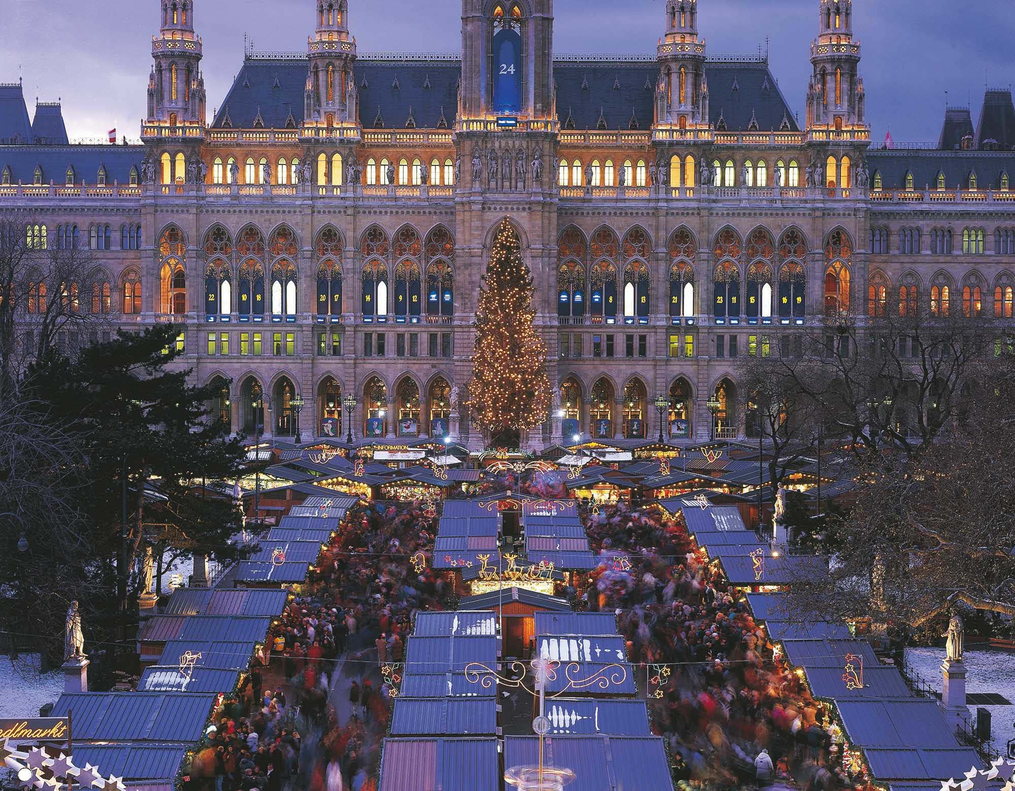 Christmas market in Town Hall Square, Vienna, Austria.