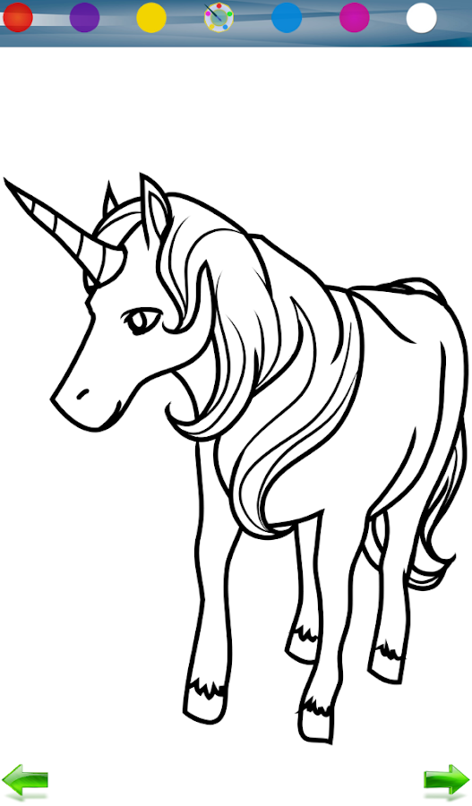 Unicorn coloring game - screenshot