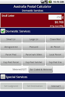 Screenshot of Australia Postage Calculator