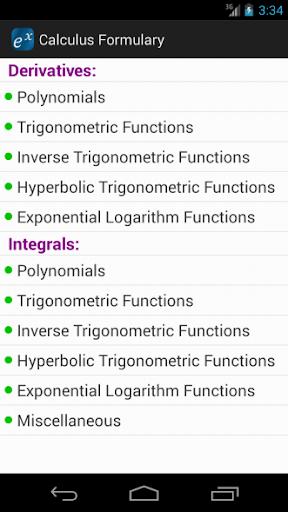 Calculus Formulary