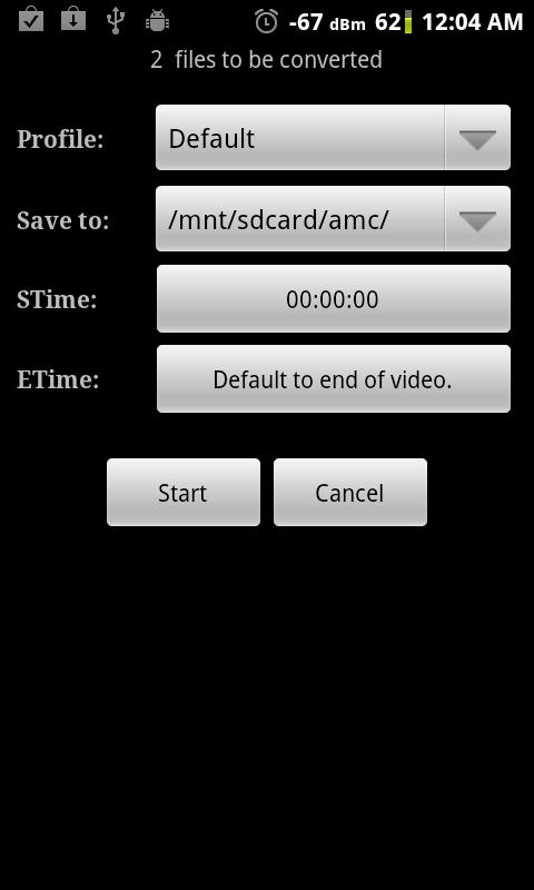 Video Converter Android: captura de tela