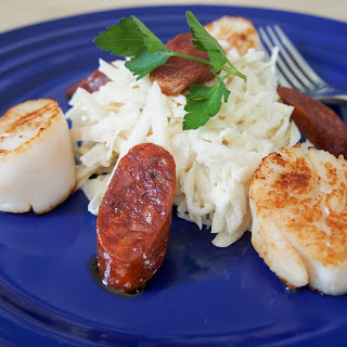 Pan-seared Scallops With Celeriac Remoulade And Chorizo