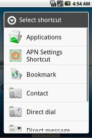 APN Settings Shortcut - screenshot
