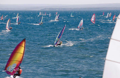 Windsurfing in Gaspesie, a peninsula along the south shore of the Saint Lawrence River in Quebec.