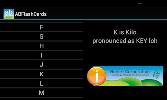 Screenshot of Alpha Bravo Flash Cards