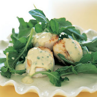 Seared Scallops with Roasted-Garlic Sabayon