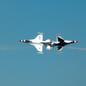 That was too close! by Cliff Dowden - Transportation Airplanes ( jet fighters, pair, wingsoverhouston, usaf, tooclose,  )