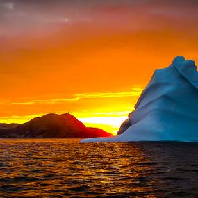 Iceberg & Lighthouse at Dawn by Eugene Ball - Landscapes Waterscapes ( iceberg, lighthouse, ocean, seascape, atlantic,  )