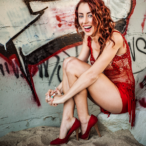 Savanna Michelle by Charles Lugtu - People Portraits of Women ( portraiture, natural light, red, red hair, graffiti, candid, nikon, smile, beautiful, woman,  )