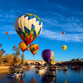 2015 Balloon Festival by Becky McGuire - Transportation Boats ( havasu, aviation, mcguire, vacation, tvlgoddess, arizona, lake, balloon, channel, becky, , #8rtcoMagazine )
