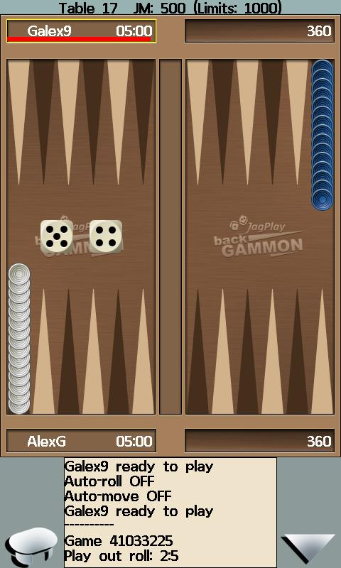JagPlay Backgammon online - screenshot