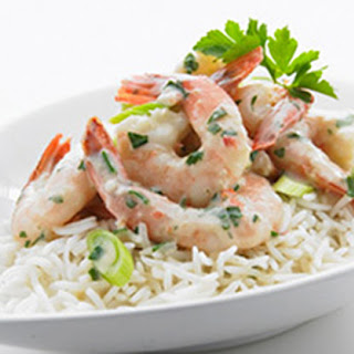 Creamy Garlic Prawns with Herb and Rice.