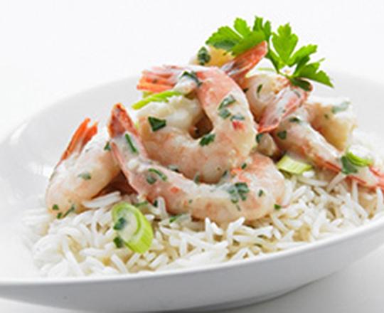 Creamy Garlic Prawns with Herb and Rice Recipe