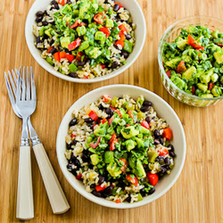 Slow Cooker Vegan Brown Rice Mexican Bowl with Black Beans, Bell Peppers, and Poblano-Avocado Salsa.