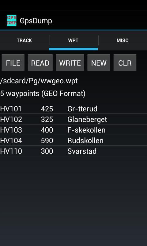 GpsDump- screenshot