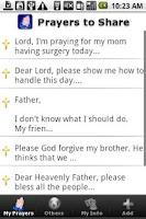 Screenshot of Prayers to Share Donate