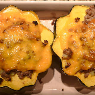Acorn Squash Stuffed with Venison, Fennel and Moroccan Spices.