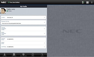 Screenshot of UNIVERGE 3C Mobile Client